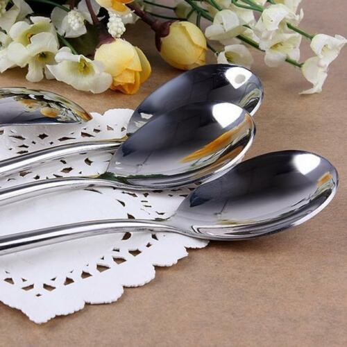 Stainless Steel Long Handle Spoon Water Drop Pattern for Rice Korean Soup QK