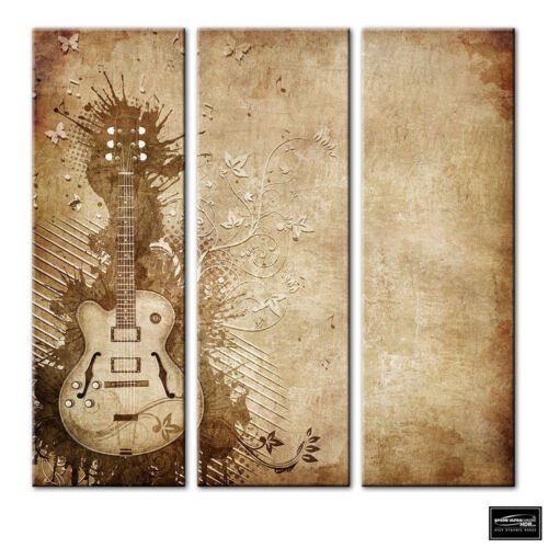 Musical Guitar grunge brown BOX FRAMED CANVAS ART Picture HDR 280gsm