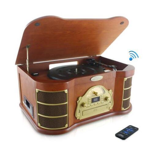 Pyle PTCD54UB Bluetooth Vintage Classic Style Turntable w// Radio CD /& Cassette