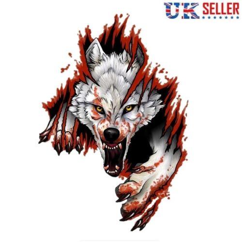 Angry Wolf Vinyl Sticker Car Window Motorcycle Motorbike Helmet Skateboard - UK