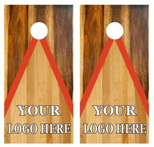 CUSTOMIZABLE YOUR LOGO//s Two Tone Wood Cornhole Board Wraps FREE SQUEEGEE /& LAM