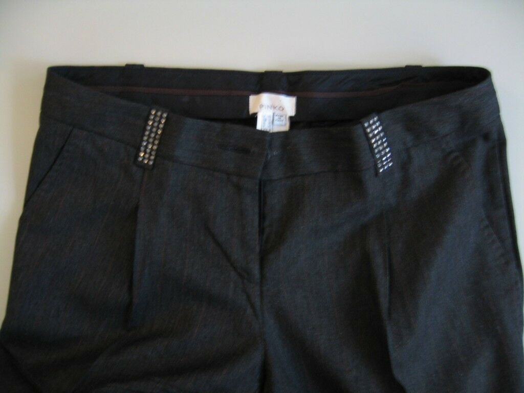 PINKO cropped cuffed dress pants  sz 8 straight leg Miss Selfridges London