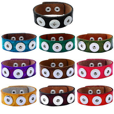 New Charms Real Leather Bracelet Fit Chunk DIY Snap Button 24.4x2.4cm