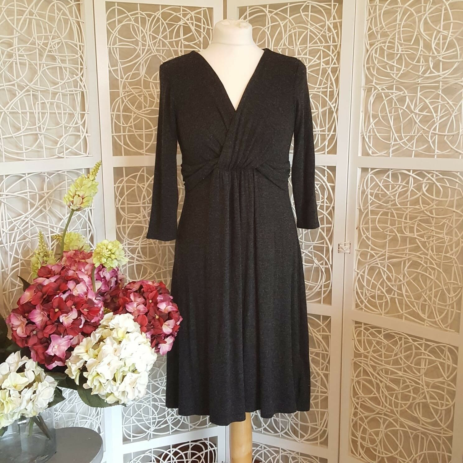 Phase Eight Dark Grey Knitted Faux Wrap Dress