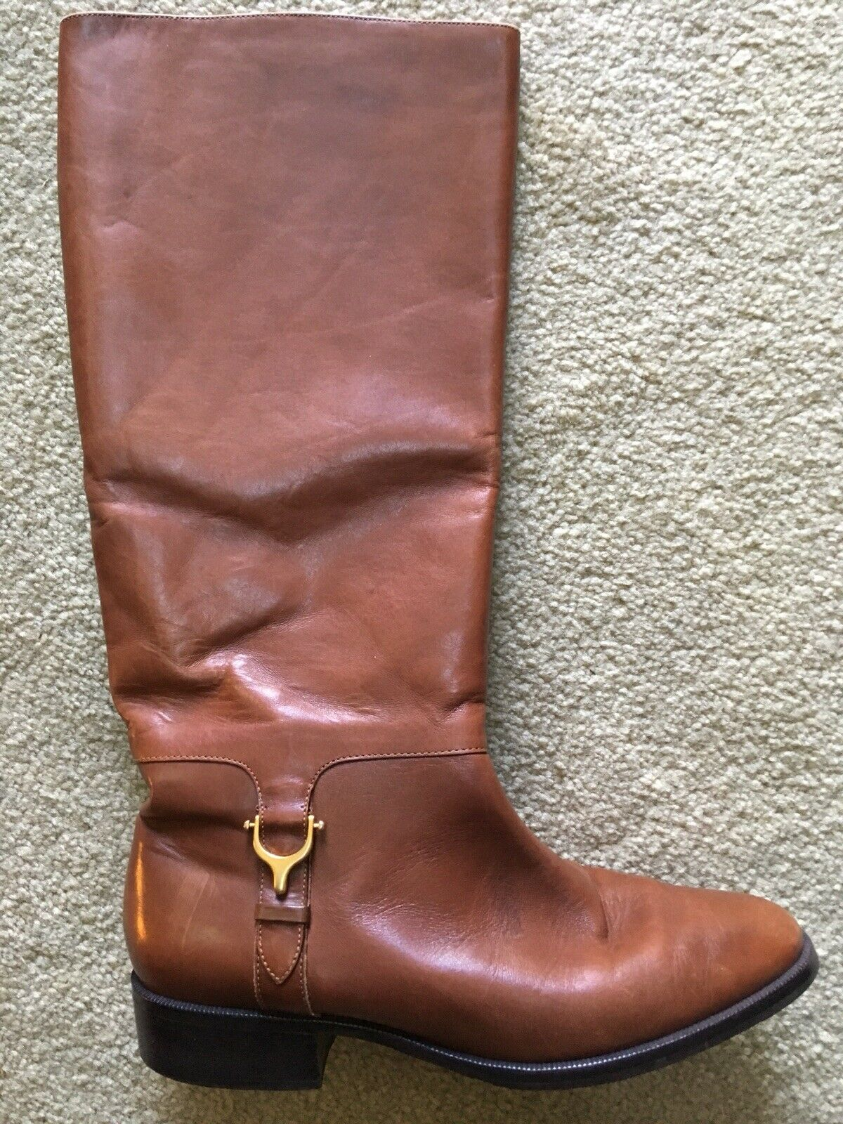 Cognac Brown Etienne Aigner Leather Knee Boots Women 8 DERBY