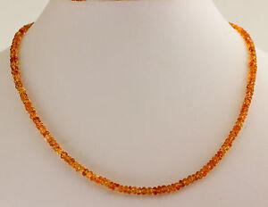 Citrino Cadena Collar de Piedras Preciosas Facetadas Rondell Amarillo Joya ca.45
