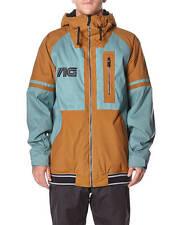 2015 NWT MENS ANALOG GREED SNOWBOARD JACKET $230 L atlantic blue leather brown