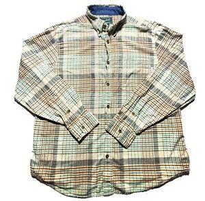 Woolrich-Mens-Green-Tan-Plaid-Flannel-Long-Sleeve-Button-Up-Casual-Shirt-Size-XL