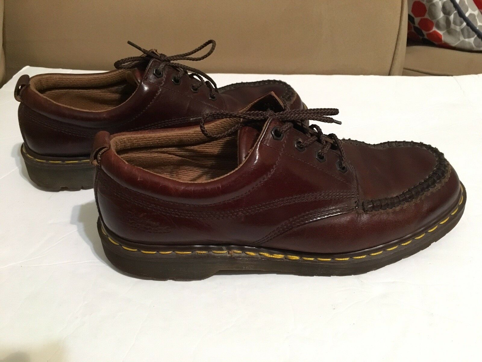 Men's Dr Martens 8054 Made In England Moc Toe Oxford Brown Leather shoes Sz 11