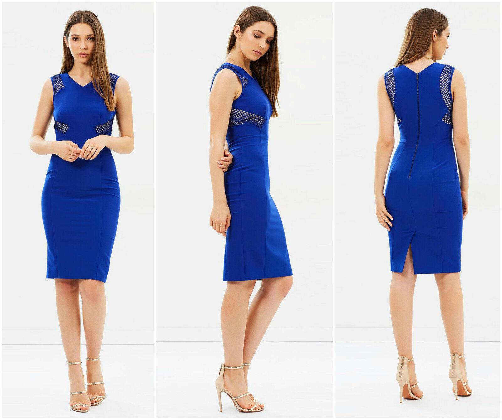 New KAREN MILLEN Blau BNWT  Lace Panel Pencil Dress UK Größe 10 12 14