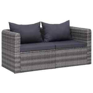 vidaXL-2x-Garden-Corner-Sofas-Grey-Poly-Rattan-with-Cushions-and-Pillows-Patio