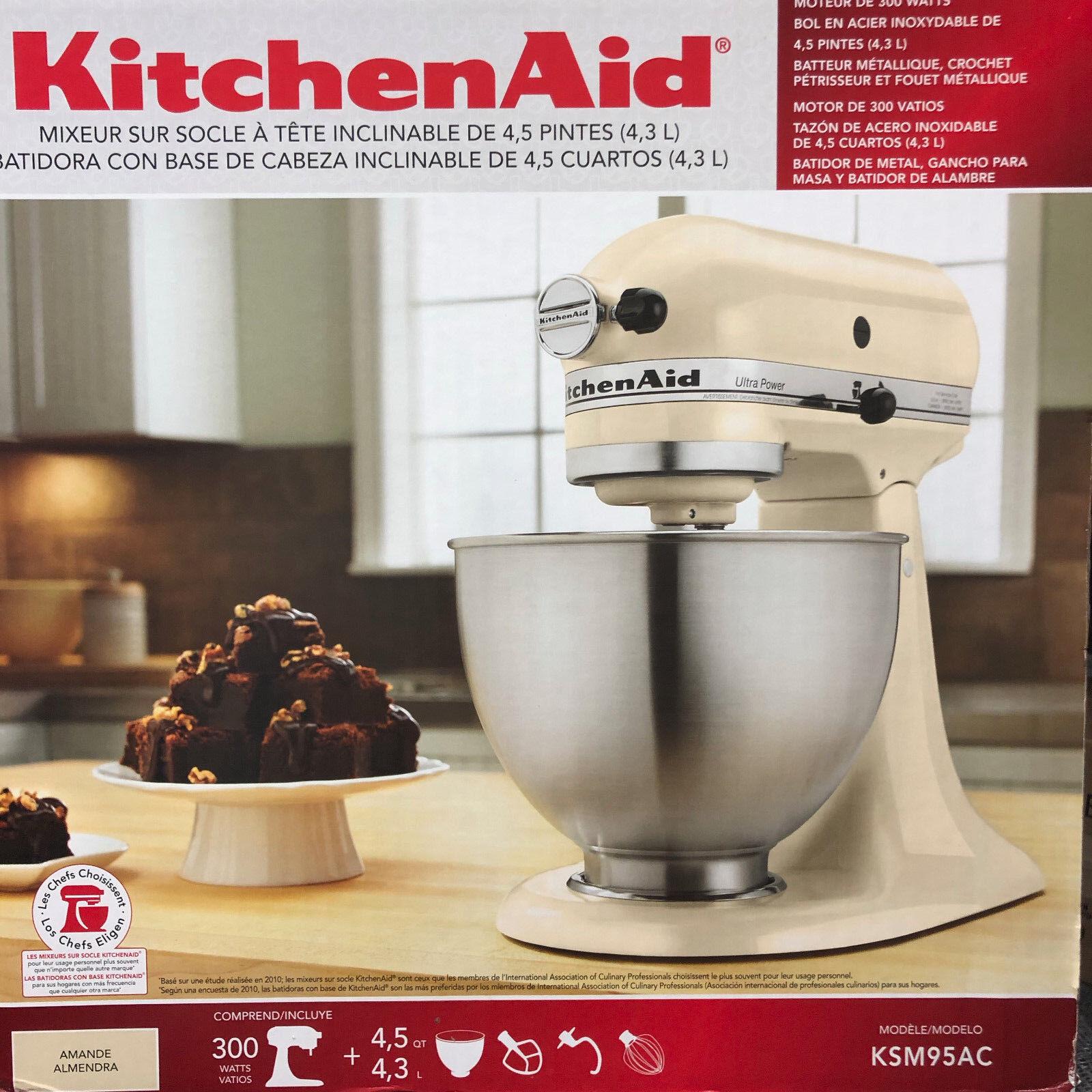 KitchenAid Ksm95 Ultra Power 300 Watts 4.5 Qt Stand Mixer KSM95ACO Almond Cream