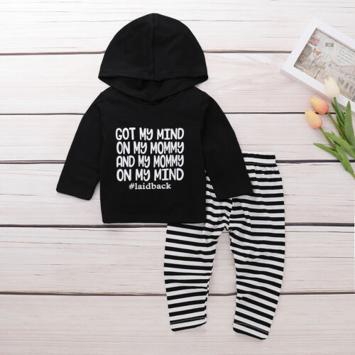 2PCS Newborn Toddler Kids Baby Boys Girls Clothes Hooded Tops+Pants Outfits Set