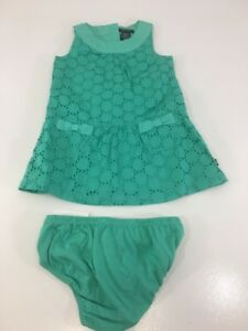 39c241070 NAUTICA INFANT GIRLS 2 PIECE SET SHIFT DRESS BLOOMER AQUA GREEN 18M ...