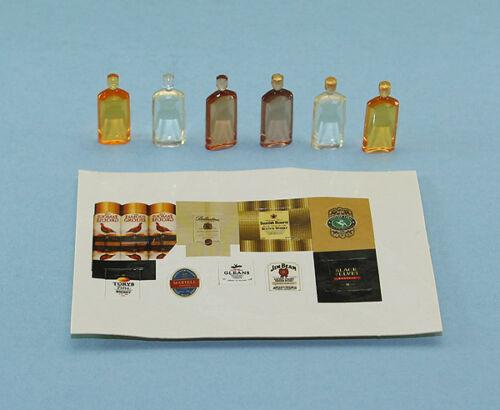 NICE Set of 6 Dollhouse Miniature Plastic Liquor Bottles with Labels #ZB9