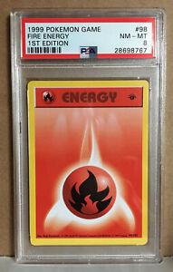 Pokemon-1st-edition-shadowless-base-set-Fire-Energy-98-102-PSA-8-NM-Mint