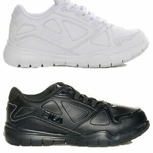 Boys-Girls-Kids-Fila-Side-By-Side-Uniform-All-White-Black-Med-or-Wide-Shoes