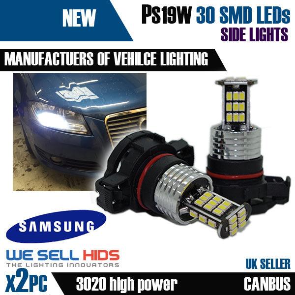 Pair H16 Ps19W 5000K Xenon White Bulbs Lamp DRL Sidelight Fog 9009 Psx24W