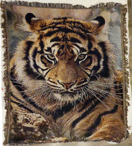 Cotton Animal Tiger Printed European American Style Sofa Bed Throw Blanket Cover