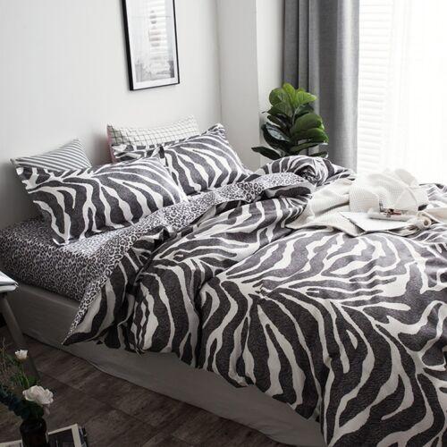 Leopard-print Black Bedding Set Duvet Quilt Cover+Sheet+Pillow Case Four-Piece