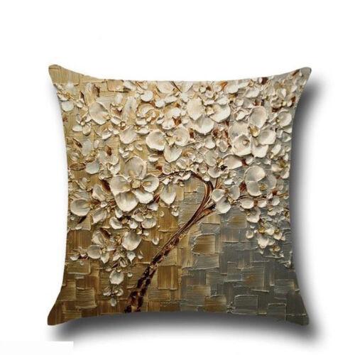 Square Linen Tree Print Throw Pillow Case Sofa Car Cushion Cover Home Decor GIFT