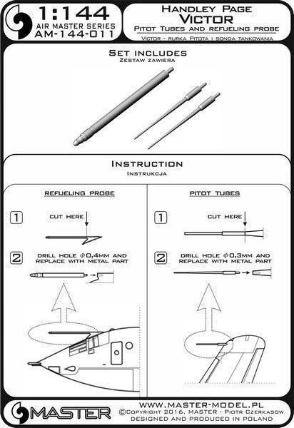 VICTOR PITOT TUBES /& REFUELING PROBE BOOM 1//72 MASTER-MODEL H.P