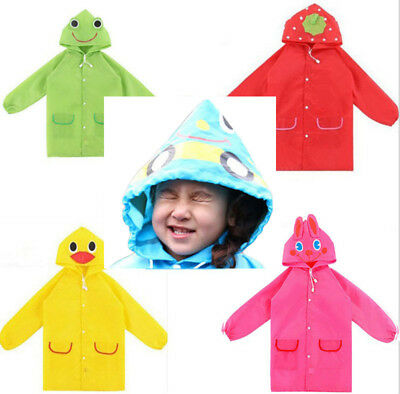 3D Cartoon Baby Kids Toddler Boy Girl Hooded Rain Coat Poncho Raincoat  Jacket | eBay