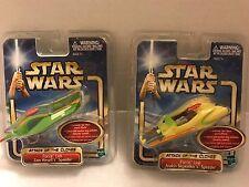 Star Wars AOTC Force Link Anakin Skywalker Speeder & Zam Wesell Speeder *NIP*