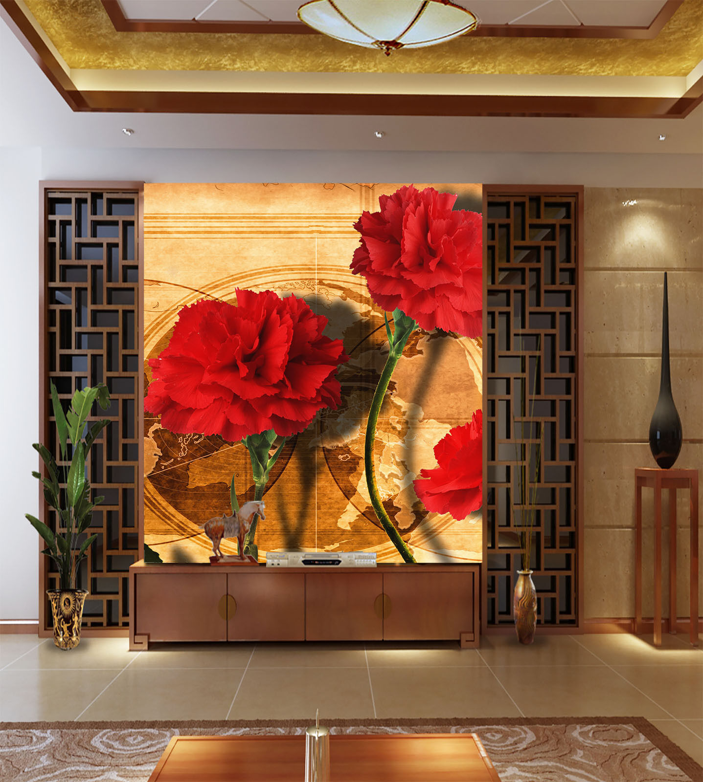 3D Leuchtend rede bluemen 1201 Fototapeten Wandbild Fototapete BildTapete Familie