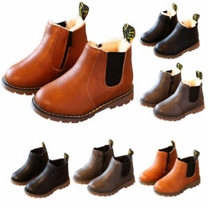 Boots-Children-kids-Leather-Ankle-Martin-Boots-Snow-Warm-Baby-Shoes-Boys-Girls