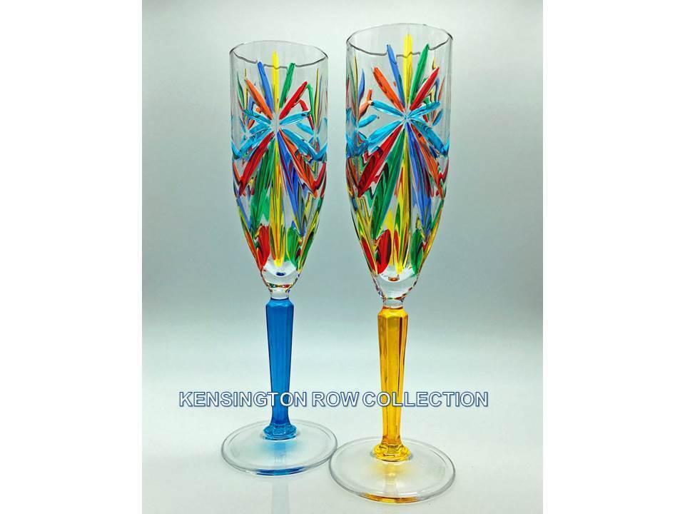 SORRENTO  Flûtes à champagne-SET 2 - Turquoise & Jaune-Vénicravaten verrerie