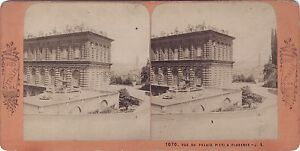 Florence Palais Pitti Italia Stereo Vintage Albumina Ca 1870