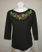Marisa Christina Womens Black Cotton Blend Holiday Shirt Top Size M