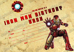 Iron Man Super Hero Kids Birthday Party Invitations Pack 8 Thick
