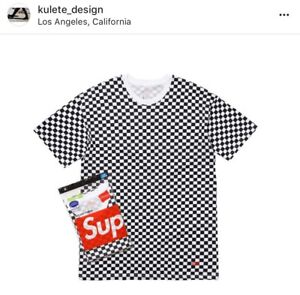 Image Is Loading Medium Supreme Hanes Tagless Tees 2 Pack Checkered