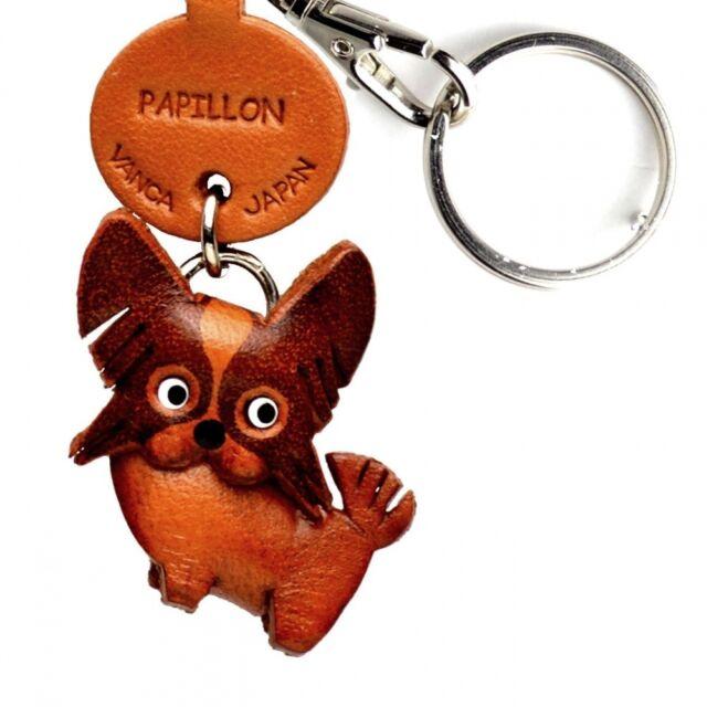 Papillon Handmade 3D Leather Dog Keychain *VANCA* Keyring Made in Japan #56745