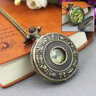 Retro Antique Bronze Quartz Pocket Watch Pendant Chain Necklace Steampunk Gift