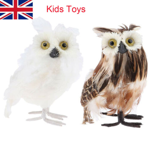 Owl Decoration Ornaments Simulation Feather Figurine Kids Toy home Decro
