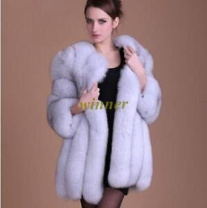 Winter Europe Fur Ladies Jacket Overcoat Parka Mid Long Fox Luxury Kvinder Tykk n7YCBq1Yw