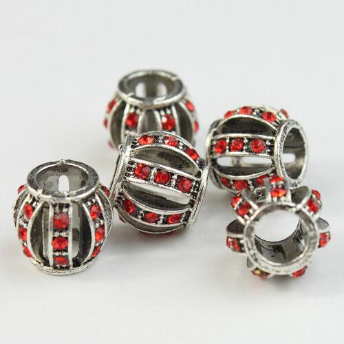 5pcs Czech Crystal Tibetan Silver Lantern Charm Beads for European Bracelet DIY