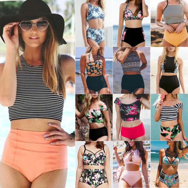 Womens Bikini Set Swimsuit High Waist Lady Beach Bathing Suit Swimwear Beachwear