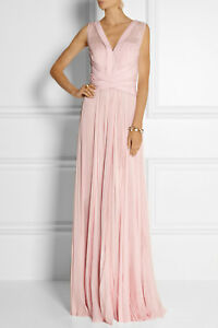 Details about NEW J. Mendel Pink Pleated Silk Chiffon Gown Rose BLUSH Pale pink Maxi Dress 4