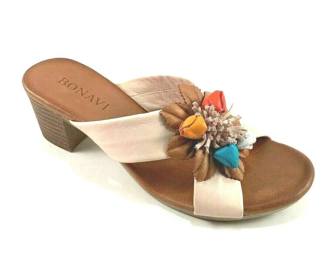 Bonavi Ella Cameo (blåsh) läder Slip Slip Slip on Low Block Heel Sandals  generell hög kvalitet