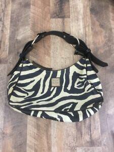 Dooney Bourke Zebra Print Purse Leather Black Cream Shoulder Bag