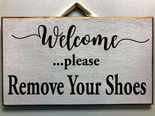 Welcome remove your shoes please sign door hanger porch foyer decor hanging