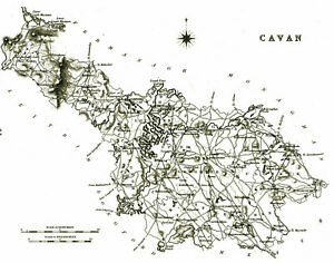 Map Of Ireland Cavan.Details About Large Map Of County Cavan Ireland C1840
