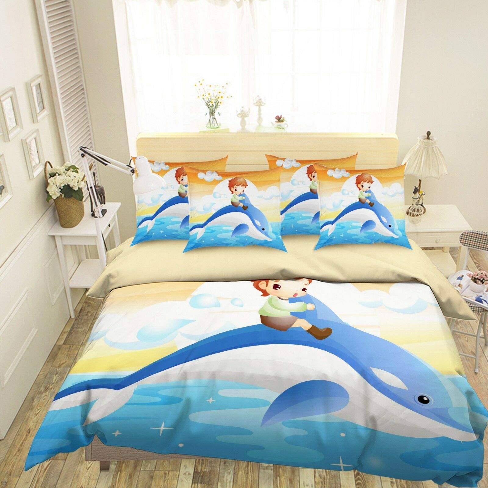 3D Dolphin Boy 6 Bett Pillowcases Quilt Duvet Startseite Set Single Königin König AU Cobb