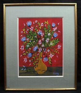 Odette Caly (1914-1993) Fleurs étude Pour Manufacture Des Gobelins Aubusson Techniques Modernes