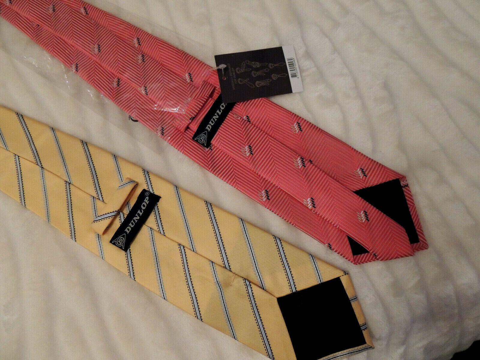 2 Krawatten von --DUNLOP--gelb und Korallenrot