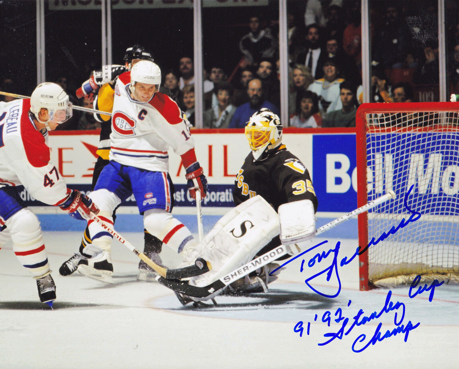 Tom Barrasso Pittsburgh Panthers 27.7m92 'Stanley Coupe Coupe Coupe Champs Action Signé 8x10 3ffc03
